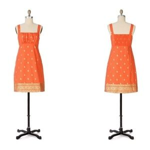 ANTHROPOLOGIE Fire Island Orange Gold Dress {K43}